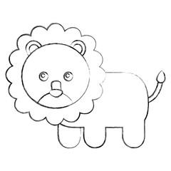 cute baby lion animal image vector illustration sketch