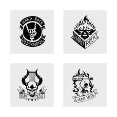 Heavy rock music vector badge vintage label with punk skull symbol hard rock-n-roll sound sticker emblem illustration