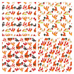 Cute cartoon rooster vector illustration chicken farm animal agriculture domestic character seamless pattern background