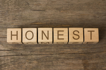 honest word written on wooden toy cubes
