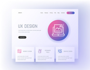 UX design, Website, Graphic, Designers tools Landing page template.