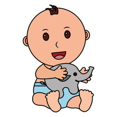 baby boy with cute elephant character icon vector illustration design