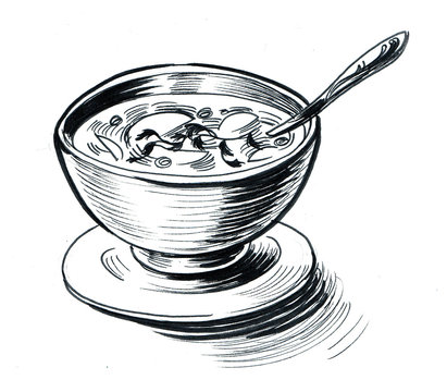 A bowl of soup with a spoon. Ink black and white drawing