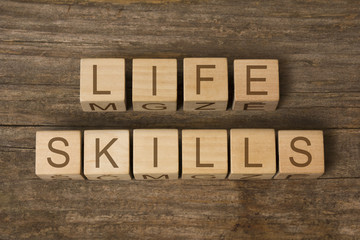 LIFE SKILLS text on wooden toy cubes