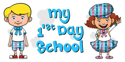 Boy and Girl ready for first day school cartoon vector