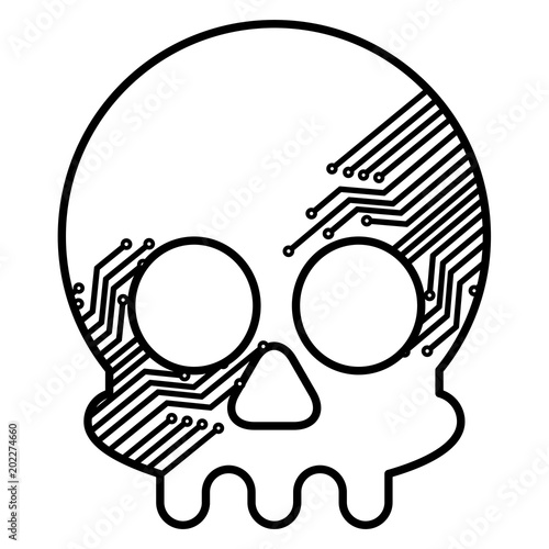 Skull With Electric Circuit Vector Illustration Design Stock Image