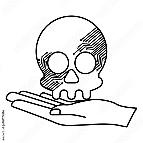 Hand Lifting Skull With Electric Circuit Vector Illustration Design