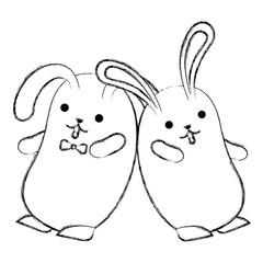 kawaii cute cartoon couple rabbit playing vector illustration sketch