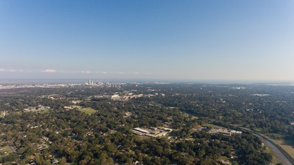 Aerial shot of the downtown Mobile, Alabama skyline