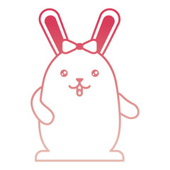 cute kawaii girl rabbit cartoon with bow vector illustration degraded color