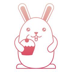 cute kawaii rabbit cartoon holding sweet cupcake vector illustration degraded color