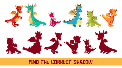 Find correct shadow kid puzzle vector illustration. Cartoon children quiz game to match shadow shape of funny cute dragon monsters, logical solution game for kids game design template