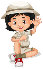 A Cute Zoo Keeper on White Background