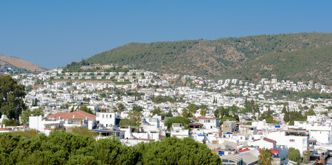 Aerial view of  Bodrum houses from top of St. Peter Castle or Bodrum Castle