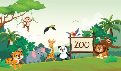 illustration of funny zoo animal cartoon