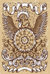 Rooster symbol with clock, sun, baroque decorations and vignette ribbons on old texture background. Fantasy engraved illustration. Zodiac animals of eastern calendar, mysterious concept