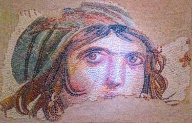 Gypsy Girl, a Byzantine mosaic in the interior of Gaziantep Zeugma Museum