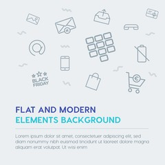 mobile, email, shopping outline vector icons and elements background concept on grey background.Multipurpose use on websites, presentations, brochures and more