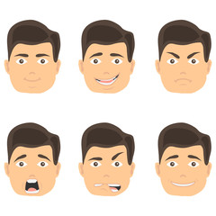 Emotions of a man's face, the expression of a man's face. Different faces of a man with emotions.