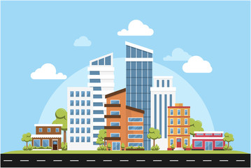 Green Ecology Modern City Urban Landscape Friendly Environment Vector Inspiration Skyline Buildings Architecture