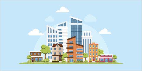 Green Ecology Modern City Urban Landscape Friendly Environment Vector Inspiration Skyline Buildings Architecture Web Banner Background
