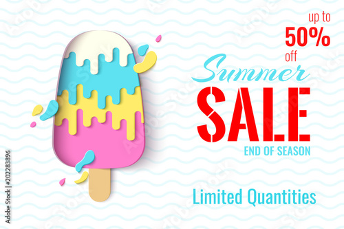 Summer Sale template banner. Paper cut ice cream vector background ...