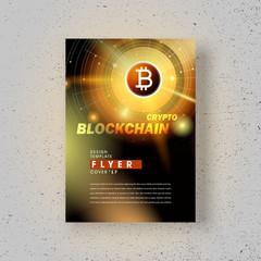 Flyer blockchain brochure design template bitcoin cryptocurrency