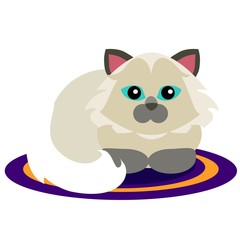 Cute illustration of persian cat on colorful carpet