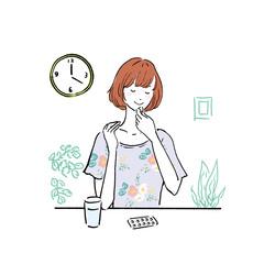 サプリを飲む 若い女性 イラスト
