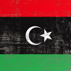 Scratched Libya flag