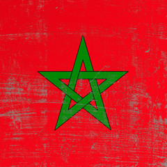 Scratched Morocco flag