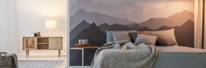 Mountain wallpaper in bedroom Wall mural