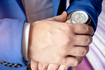 Man is checking his watch