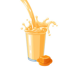 Colorful milkshake design. Milky flow and splash in full glass of caramel flavoured milk. Vector illustration cartoon flat icon isolated on white.