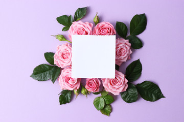beautiful composition of roses and petals on a pastel background with space for text. minimalism, idea, insta,