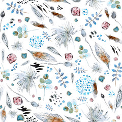 Watercolor abstract seamless pattern with leaves, twigs, seashells, feathers and watercolor stains for application in textiles and various designs.