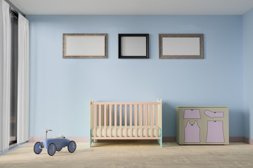 Baby bedroom with picture frame. 3d Rendering