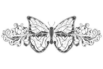 Butterfly with beautiful filigree floral decoration