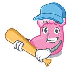 Playing baseball sock character cartoon style
