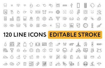 Big Set of Miscellaneous Lifestyle Line Icons. Editable Stroke. Finger Touch, Smartphone, Trade, Courier, Bicycle, Seagull, Happy Face, Cash Machine, Chain Stores, Clothing, Tiger.