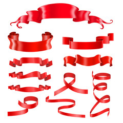 Red ribbon banners. Silky shiny 3d design elements