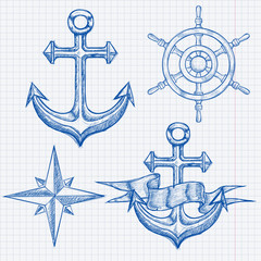 Marine set. Anchor, steering wheel, compass rose. Hand drawn sketch. Blue vector illustration on lined paper background