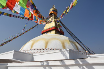 Low-angle view of Boudhanath Stupa, Kathmandu, Nepal