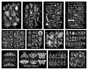 Doodle Vector Big collection of  leave, ghost, art tool school,  halloween, animal, mint, butterfly, cityscape, alcohol, cinema on chalkboard eps10