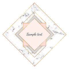 Modern minimalist polygonal, geometric frame with marble texture and gold lines border. Template for card, flyer, invitation, party, birthday, wedding, save the date, annivers, poster
