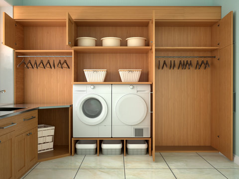 Design room for washing and cleaning. 3d illustrator