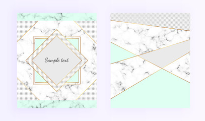 Cover geometric designs, frame with marble texture, modern gold lines border. Templates for card, flyer, invitation, party, birthday, wedding, save the date, annivers, poster, banner