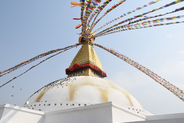 Praying flags of Boudhanath Stupa, Kathmandu, Nepal