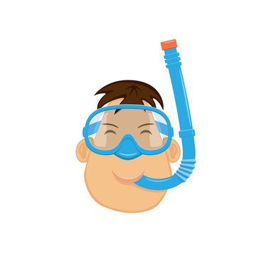 Head of man in diving mask and snorkel