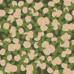Colorful seamless pattern. Hand drawn pink roses on green background